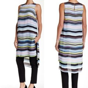 Vince Camuto Long Hi-Lo Striped Tunic